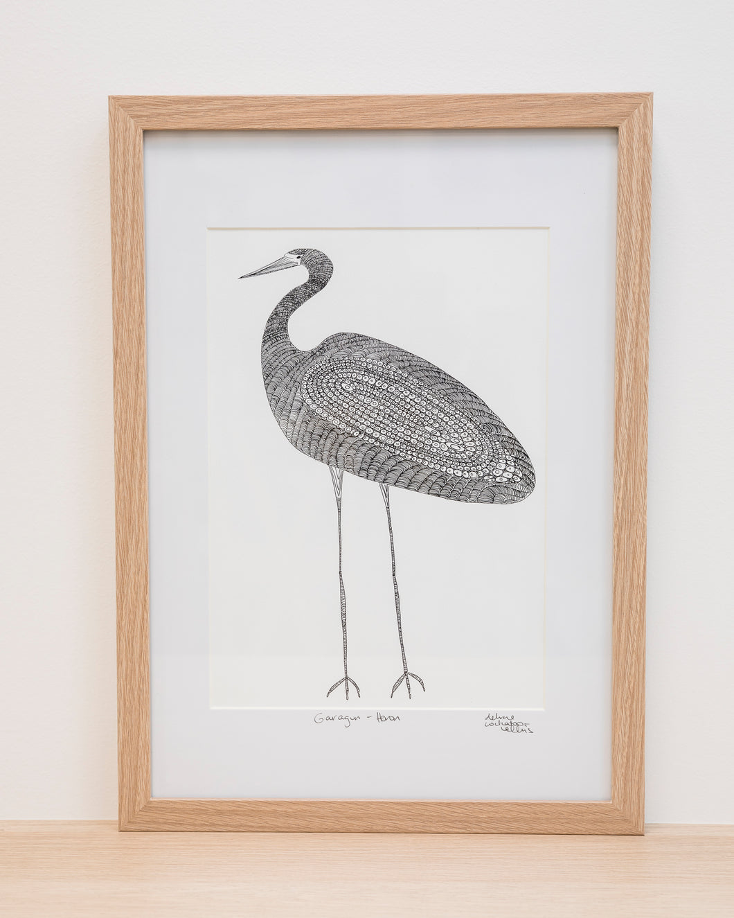 Garagun (White Heron) - Framed Signed A4 Print