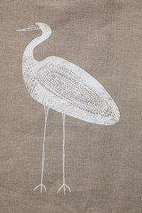Garagun (White Heron) - Handprinted Flax Linen Tea Towel