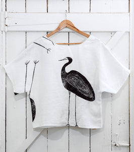 Garagun (White Heron) - Handprinted Linen Top