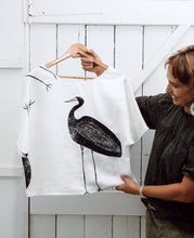 Load image into Gallery viewer, Garagun (White Heron) - Handprinted Linen Top