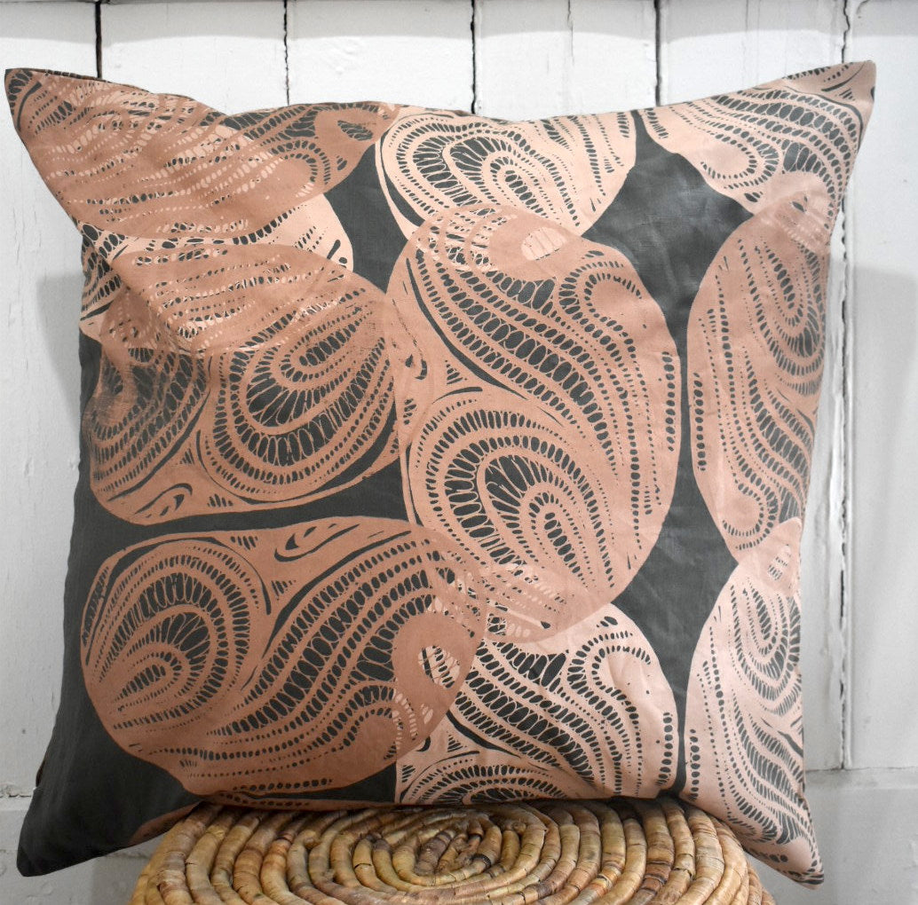 Kinyingarra (Oyster)- Handprinted Linen Cushion Cover