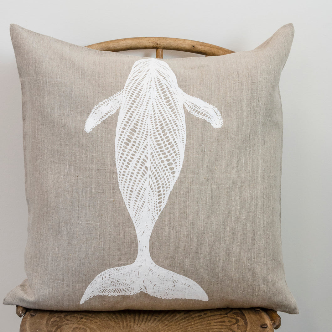 Migalu Yalingbilla (White Humpback) - Handprinted Flax Linen Cushion Cover