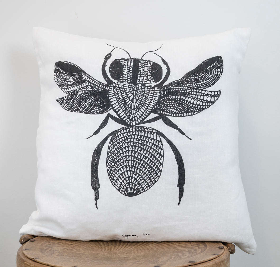 Sugarbag Bee - Handprinted Linen Cushion Cover