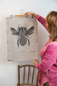 Sugarbag Bee - Handprinted Linen Tea Towel