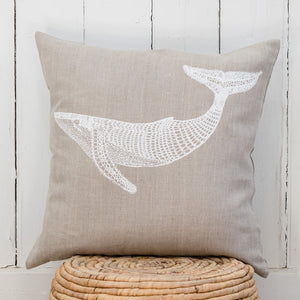 Migalu Yalingbilla (White Humpback) - Handprinted Linen Cushion Cover