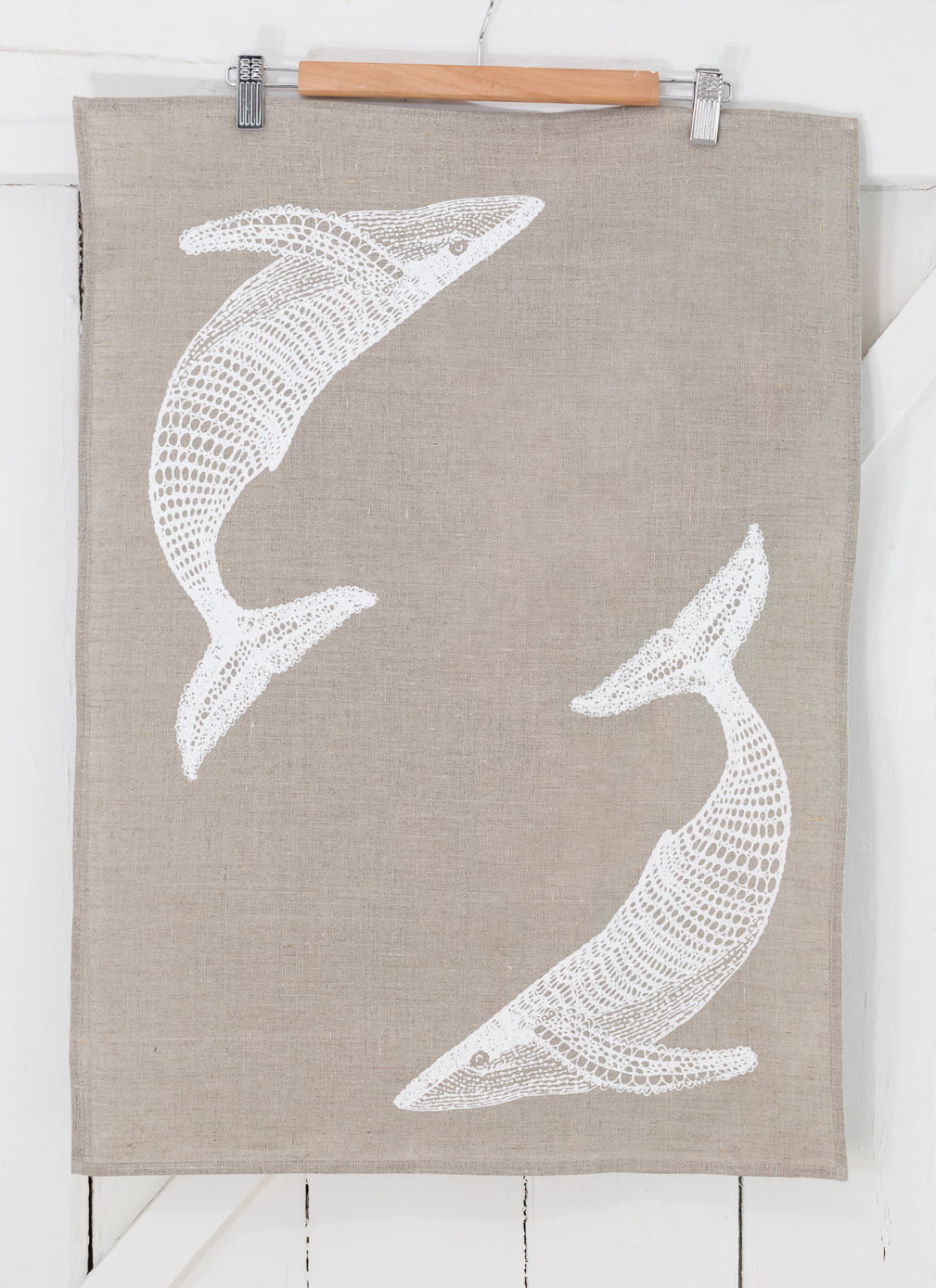 Migalu Yalingbilla (White Humpback) - Handprinted Linen Tea Towel
