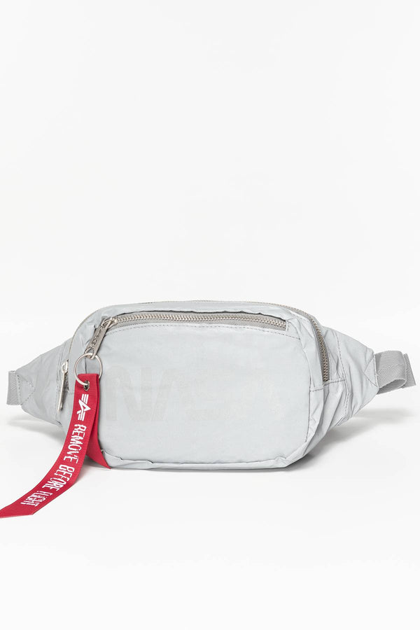 #00174  Alpha Industries taštička Nasa Waist Bag Reflective 911 SILVER