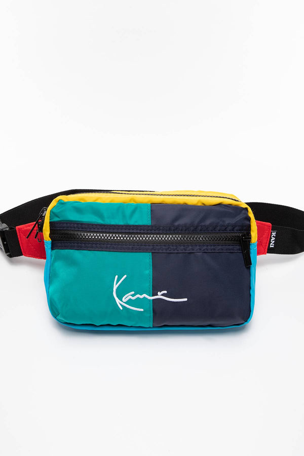 #00000  Karl Kani taštička SASZETKA NERKA KK Signature Block Hip Bag green 4004371 MULTICOLOR