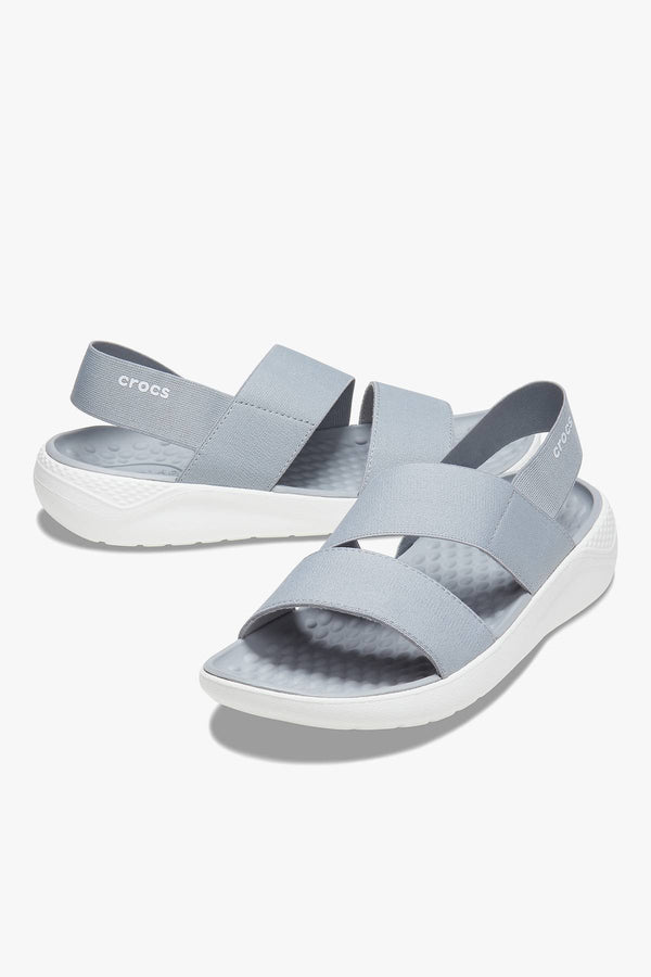 #00122  Crocs obuv SANDAŁY LITERIDE STRETCH SANDAL W LIGHT GREY/WHITE 206081-00J LIGHT GREY/WHITE