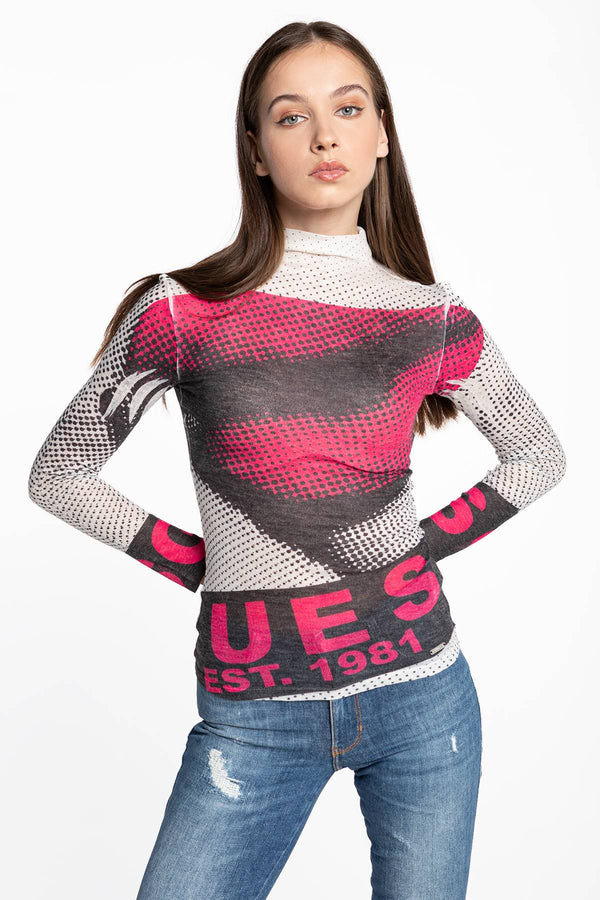 #00032  Guess tričko NAMIRA TOP W0BP93KA360-P02J PINK/GREY/BLACK/WHITE