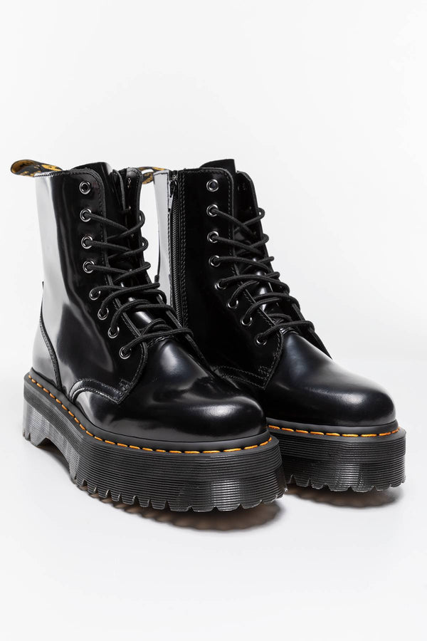 #00071  Dr.Martens obuv, členkové čižmy JADON PLATFORM BOOTS BLACK POLISHED SMOOTH BLACK POLISHED SMOOTH