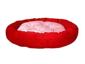 Gorgeous Super Soft and Reversible Dual Dog Bed RED & Pink Pillow Colour, Round Shape