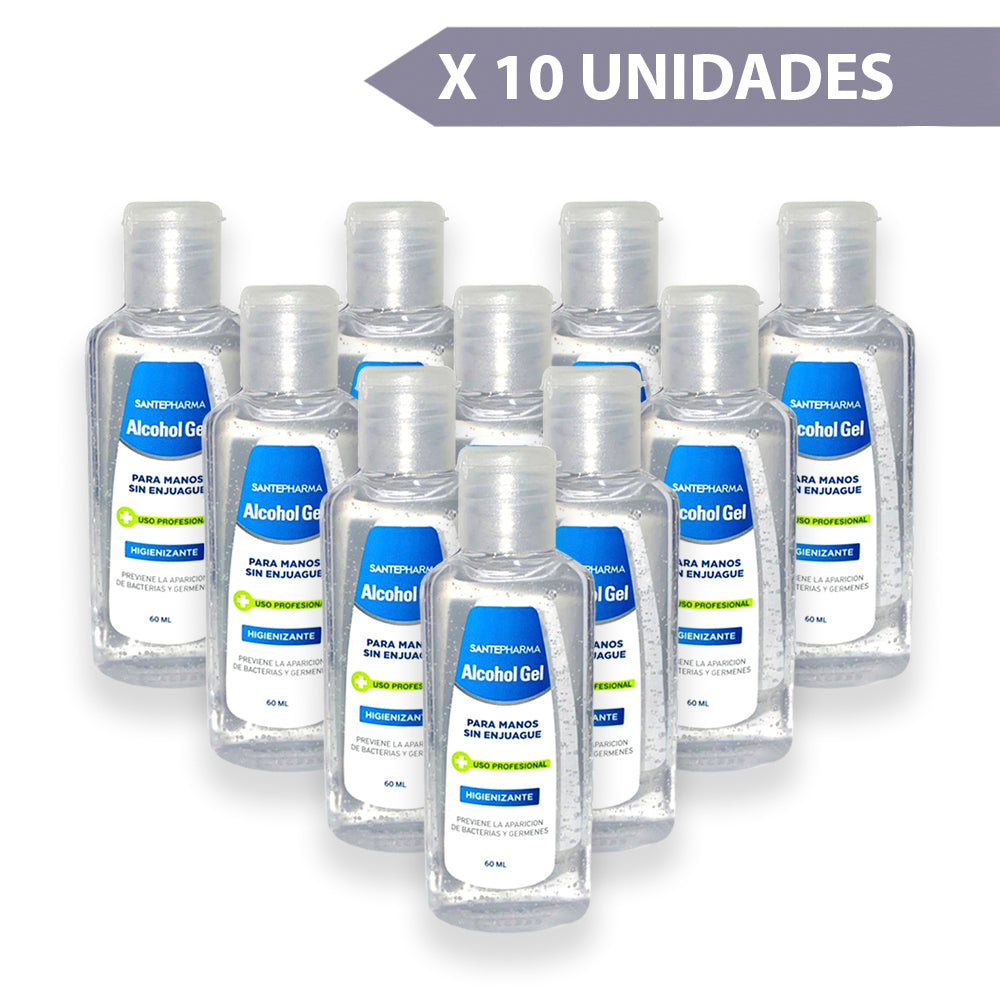 Alcohol gel 60 ml pack 10 uds.
