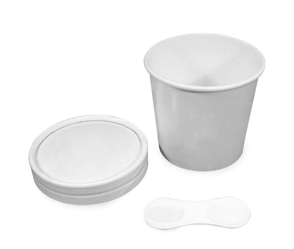 WHITE PAPER LID W/ SPOON FOR 100-125ML (PL-TUBLIDW-100) - 25PCS/ROLL