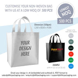 CUSTOMISABLE NON WOVEN BAGS L260 x B260 x H180 (UP TO 2C PRINT) - 500PCS/UNIT