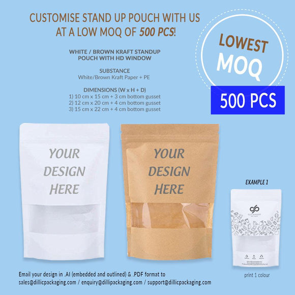 CUSTOMISABLE BROWN / WHITE STAND UP POUCH W/ HD WINDOW (1 COLOR PRINT) - 500PCS/UNIT