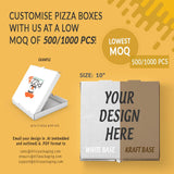 "CUSTOMISABLE 10"" WHITE OR BROWN PIZZA BOX (UP TO 3 COLOR PRINT) - 1,000PCS/UNIT"