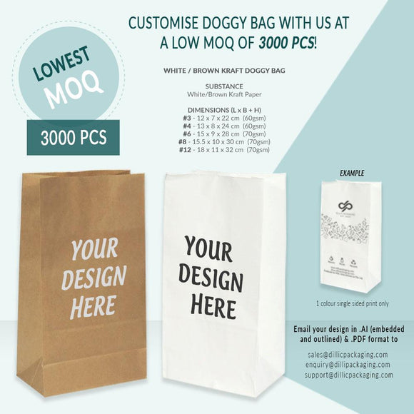 CUSTOMISABLE BROWN / WHITE SQUARE BOTTOM DOGGY BAGS (1 COLOR PRINT) - 3,000PCS/UNIT