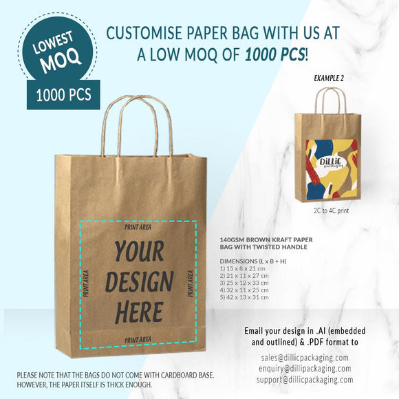CUSTOMISABLE BROWN KRAFT PAPER BAGS (UP TO 4 COLORS) - 1,000PCS/UNIT