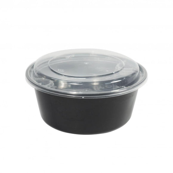 1250ML BLACK PLASTIC BOWL W/ LID (PC-HSY1250-BL) - 50SETS/PKT