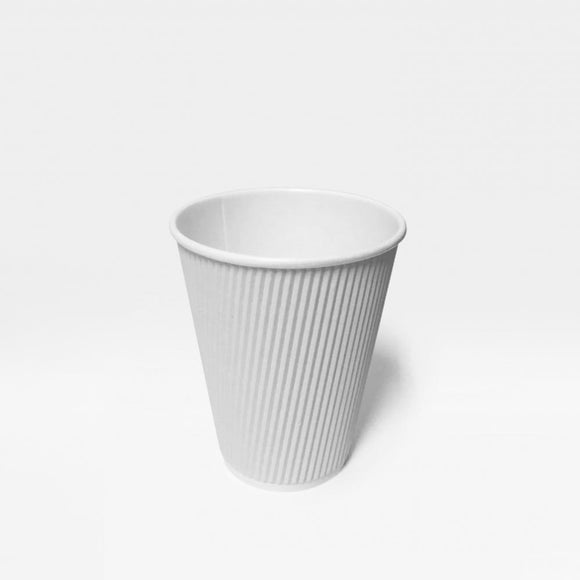 12OZ WHITE RIPPLE CUP (PL-12OZ-RCW-TJJH) - 25PCS/ROLL