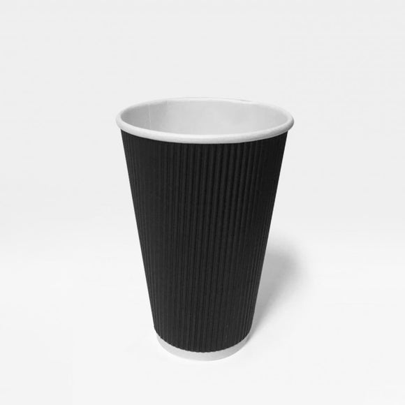 16OZ BLACK RIPPLE CUP (PL-16OZ-RCB) - 20PCS/ROLL