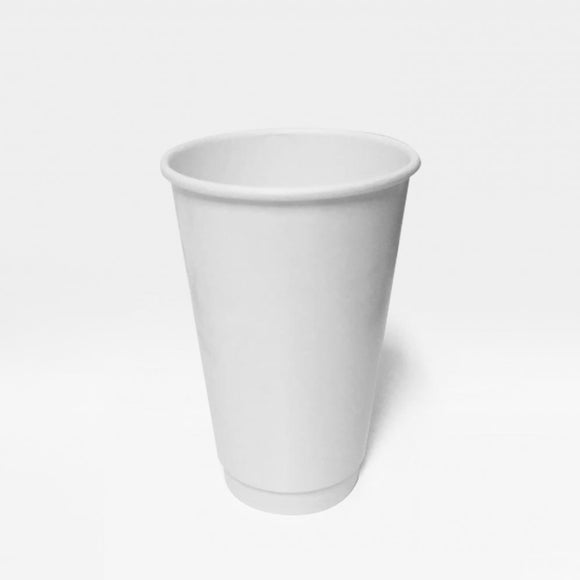 16OZ WHITE DOUBLE WALL CUP (PL-16OZ-DWC-W) - 25PCS/ROLL