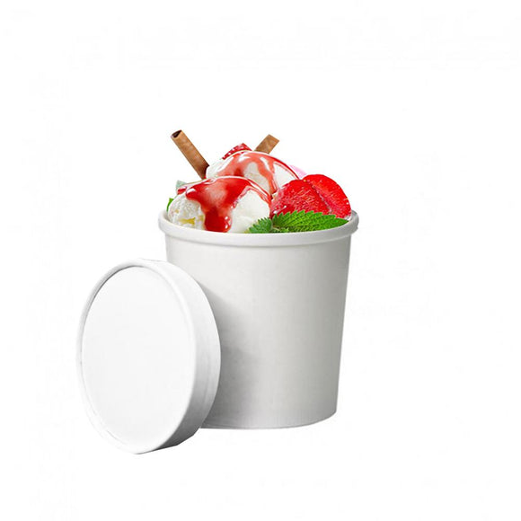 16OZ PINT WHITE ICE CREAM TUB (PL-PINTTUB-SHT) - 50PCS/ROLL
