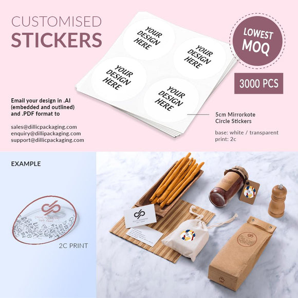 CUSTOMISABLE 5CM ROUND STICKERS (2C PRINT) - 3,000PCS/UNIT
