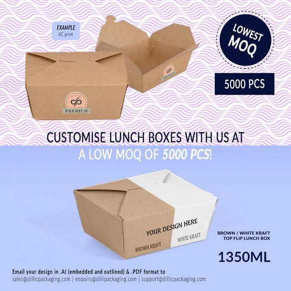 CUSTOMISABLE 1350ML TOP FLIP LUNCH BOXES (UP TO 4 COLOR PRINT) - 5,000PCS/UNIT