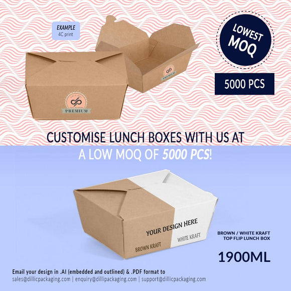 CUSTOMISABLE 1900ML TOP FLIP LUNCH BOXES (UP TO 4 COLOR PRINT) - 5,000PCS/UNIT