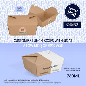 CUSTOMISABLE 760ML TOP FLIP LUNCH BOXES (UP TO 4 COLOR PRINT) - 5,000PCS/UNIT