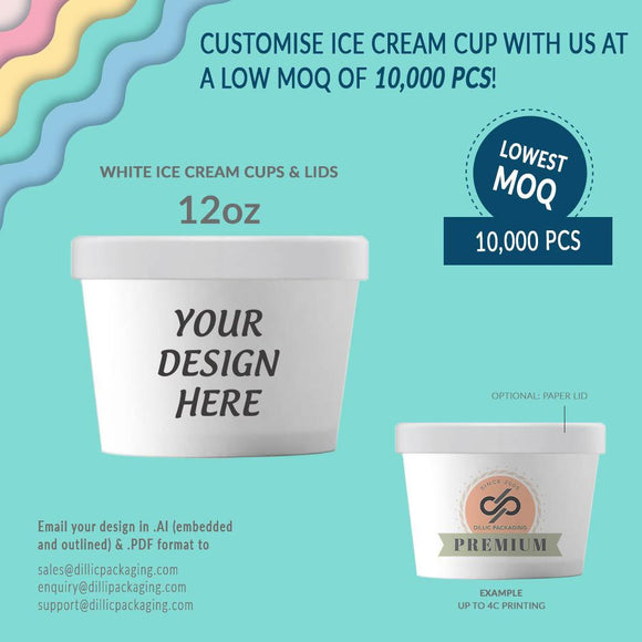 CUSTOMISABLE 12OZ WHITE ICE CREAM CUP W/ LIDS (UP TO 4 COLORS) - 10,000PCS/UNIT