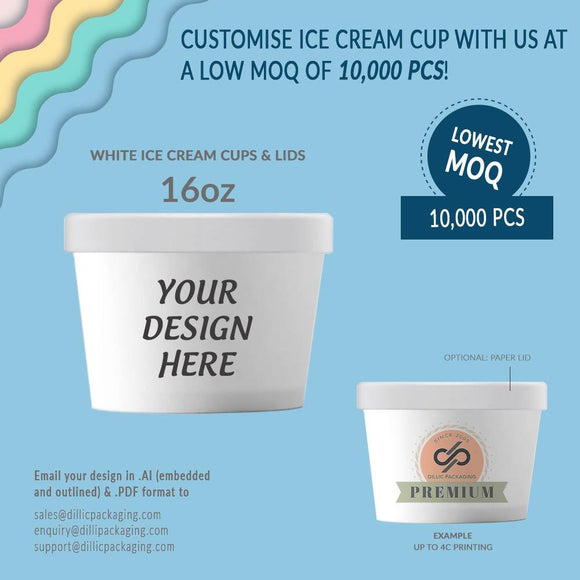 CUSTOMISABLE 16OZ WHITE ICE CREAM TUBS W/ LIDS (UP TO 4 COLORS) - 10,000PCS/UNIT