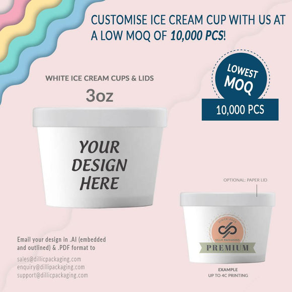CUSTOMIZABLE 3OZ WHITE ICE CREAM CUPS (UP TO 4 COLORS) - 10,000pcs