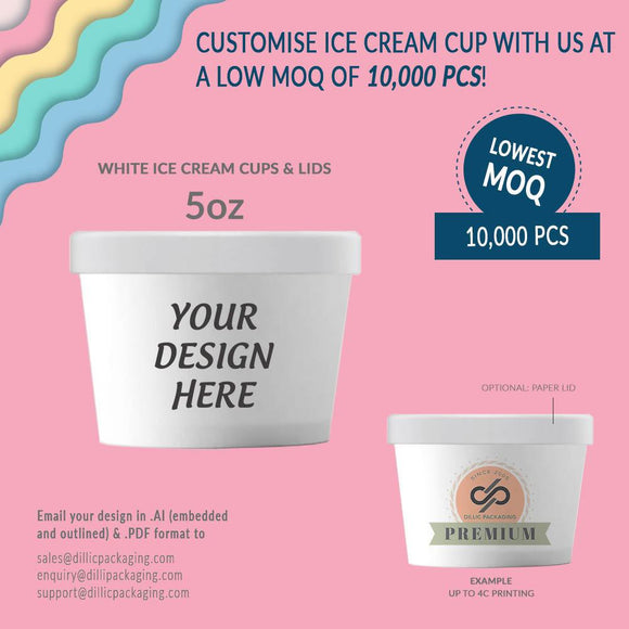 CUSTOMISABLE 5OZ WHITE ICE CREAM CUP W/ LIDS (UP TO 4 COLORS) - 10,000PCS/UNIT