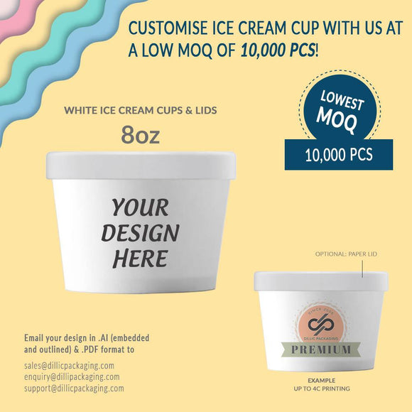 CUSTOMIZABLE 8OZ WHITE ICE CREAM CUP W/ LIDS (UP TO 4 COLORS) - 10,000pcs