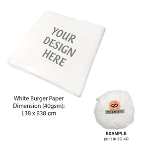CUSTOMISABLE 29.9 x 29.5CM WHITE BURGER PAPER (UP TO 4C PRINT) - 200,000PCS/UNIT