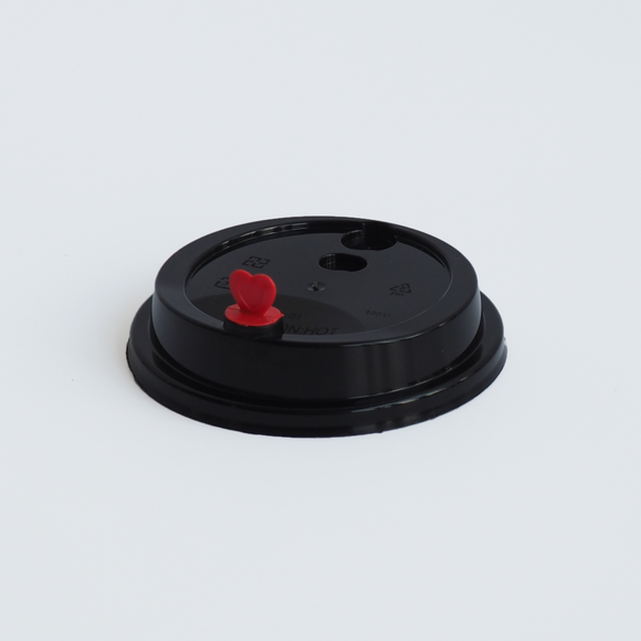 90MM BLACK LID FOR PP INJECTION CUPS (PPINJLID90-B-HG) - 50PCS/PKT