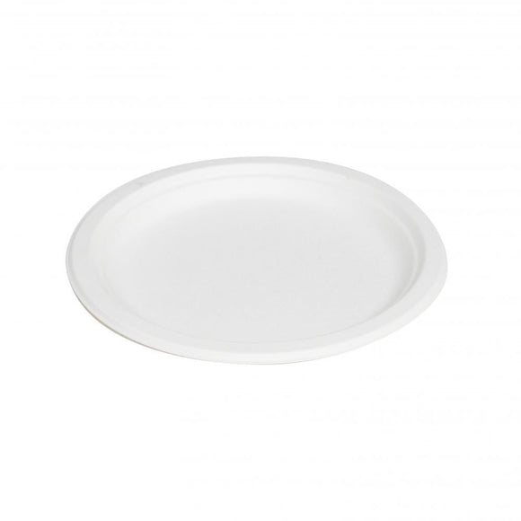 9'' WHEAT FIBRE PLATE WHITE (BB-P013W) - 50PCS/PKT