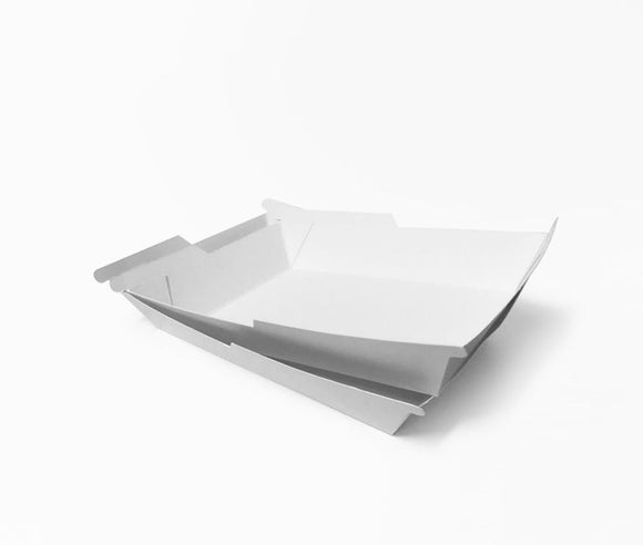 SYMMETRAY MEDIUM WESTERN FOOD TRAY WHITE (D-SYM4W) - 100PCS/PKT