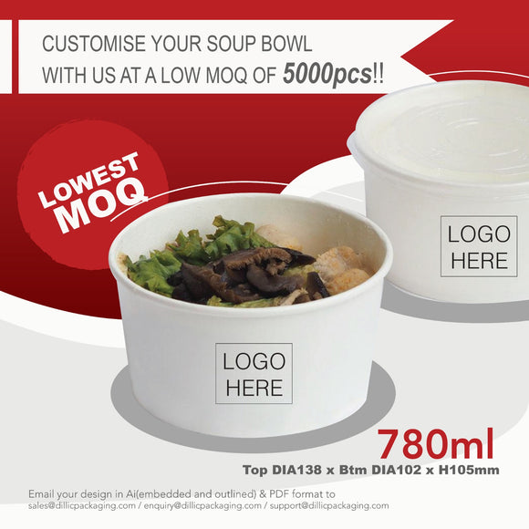 CUSTOMISABLE 750ML WHITE SOUP BOWL (CMYK PRINT) - 5,000PCS/UNIT
