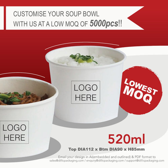 CUSTOMISABLE 520ML WHITE SOUP BOWL (CMYK PRINT) - 5,000PCS/UNIT