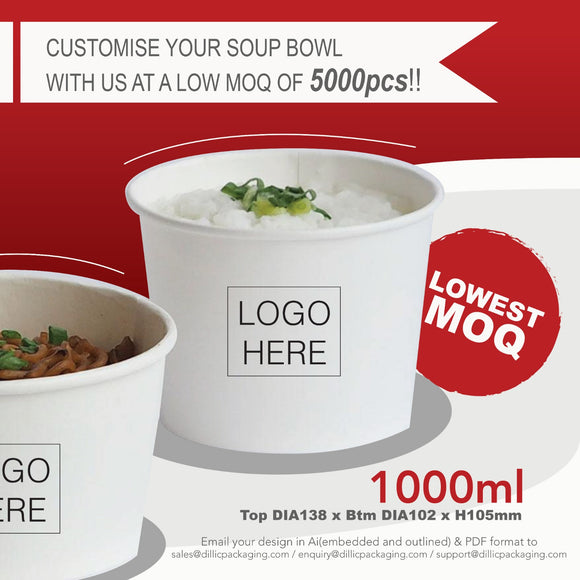 CUSTOMISABLE 960ML WHITE SOUP BOWL (CMYK PRINT) - 5,000PCS/UNIT
