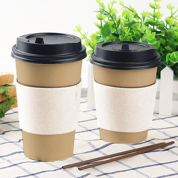 12/16OZ WHITE COFFEE SLEEVE (PL-12/16OZ-CSLW) - 25PCS/PKT