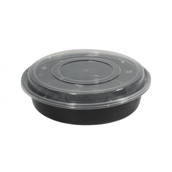1500ML PLASTIC BLACK BOWL W/ LID (PC-HS1500-BL) - 50PCS/PKT