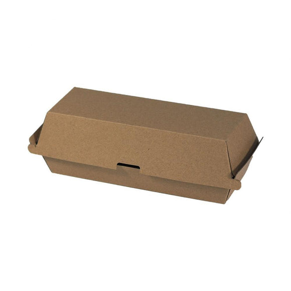 CLAMSHELL CORRUGATED HOTDOG BOX (CLAM-HDBB-PU) - 100PCS/PKT