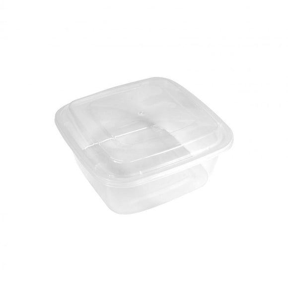 1000ML CLEAR SQUARE CONTAINER W/ LID (PC-HS497-CL) - 50SETS/PKT