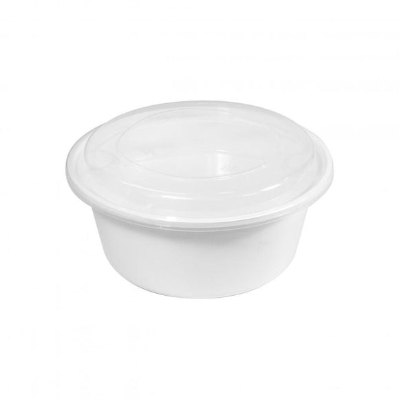 1250ML WHITE BOWL W/ LID (PC-HSY1250-W) - 50SETS/PKT