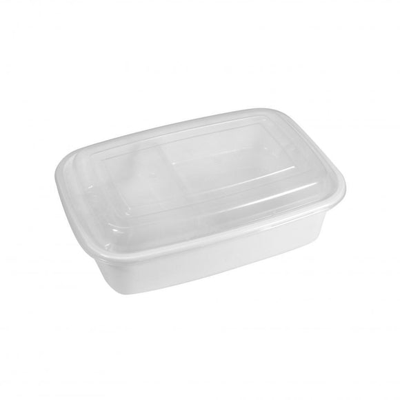 1500ML WHITE CONTAINER W/ LID  (PC-HSKF1500-W) - 50SETS/PKT